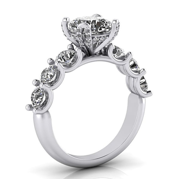 Cushion Cut Diamond Side Stones Engagement Ring 18K White Gold - Thenetjeweler
