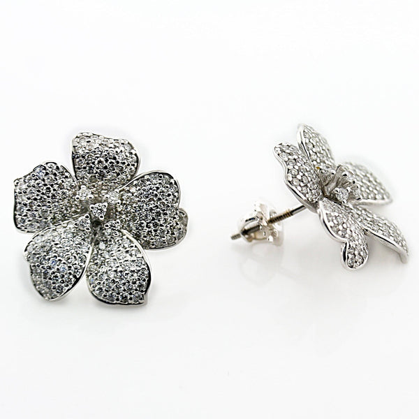 Diamond Flower Stud Earrings 18K White Gold Screw Back - Thenetjeweler by Importex
