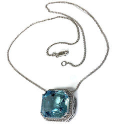 Aquamarine Emerald Cut Diamond Halo Necklace - Thenetjeweler