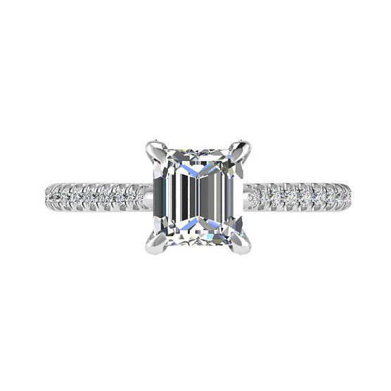 Princess Cut Diamond Side Stones Engagement Ring