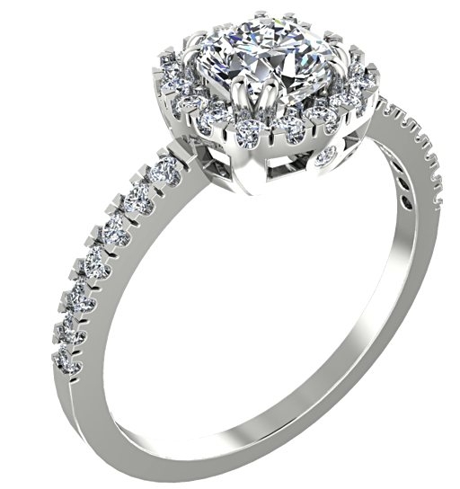 Cushion Halo Diamond Engagement Ring 18K White Gold Setting - Thenetjeweler by Importex