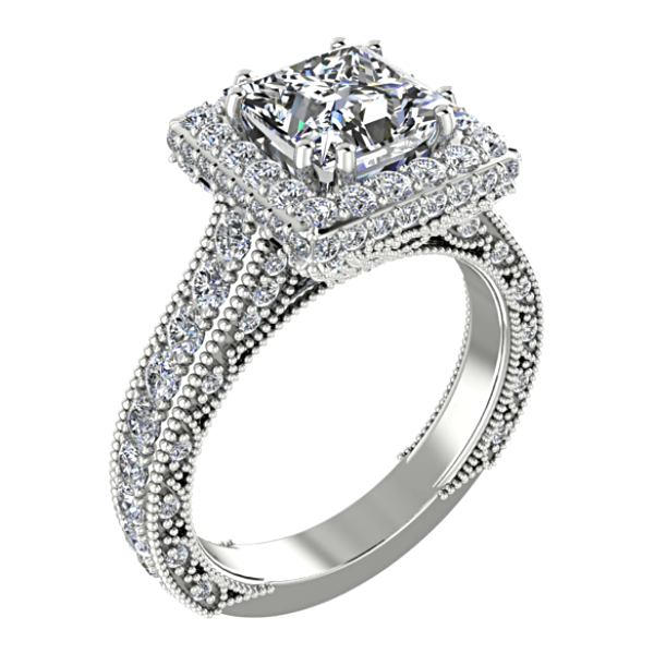 Princess Diamond Halo Engagement Ring 18K White Gold Setting - Thenetjeweler