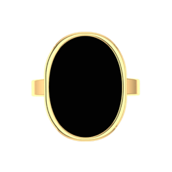 Oval Black Onyx Ring 10K Yellow Gold - Thenetjeweler