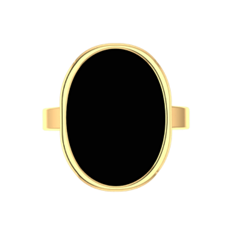 Oval Black Onyx Ring 10K Yellow Gold - Thenetjeweler by Importex