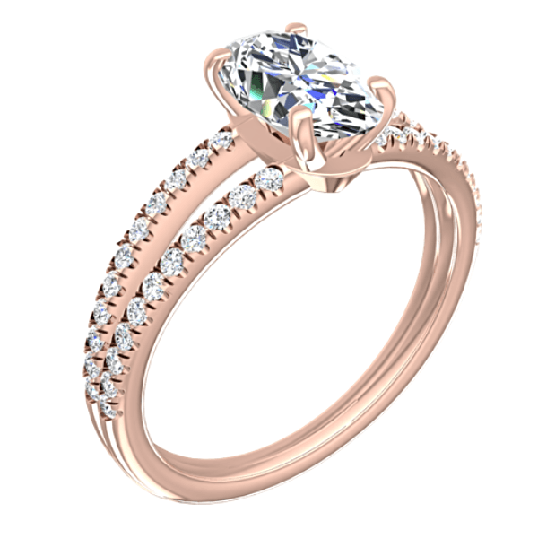 Diamond Oval Split Shank Engagement Ring 18K Pink Gold Setting - Thenetjeweler by Importex