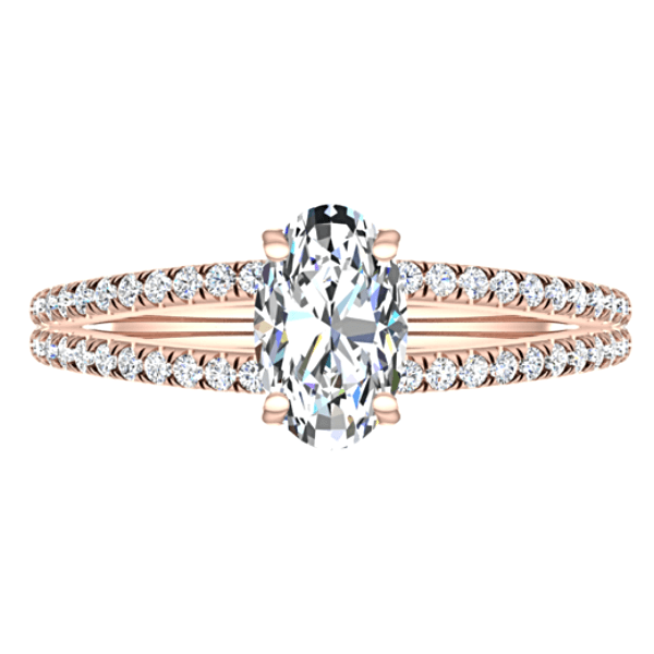 Diamond Oval Split Shank Engagement Ring 18K Pink Gold Setting - Thenetjeweler