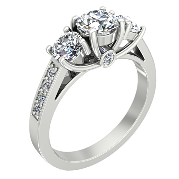 Round Three Stone Engagement Ring with Side Stones 18K White Gold - Thenetjeweler