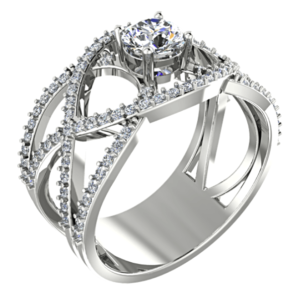 Round Diamond Ring Twisted Band with Sides Stones 18K White Gold Setting - Thenetjeweler