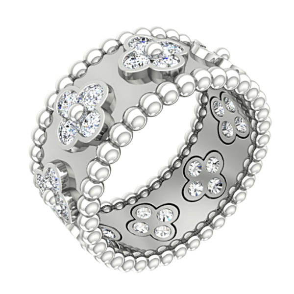 Flower Design Diamond Ring with Sphere Band 18K White Gold - Thenetjeweler