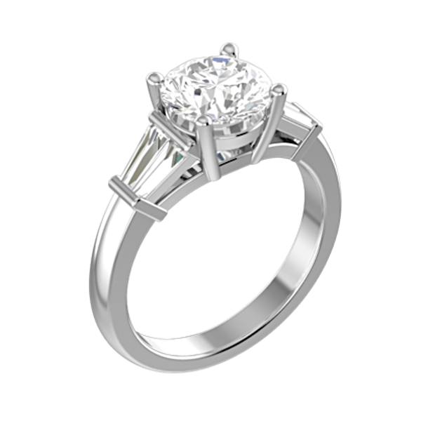 Round Diamond with Tapered Baguette Side Stones Engagement Ring 18K White Gold - Thenetjeweler