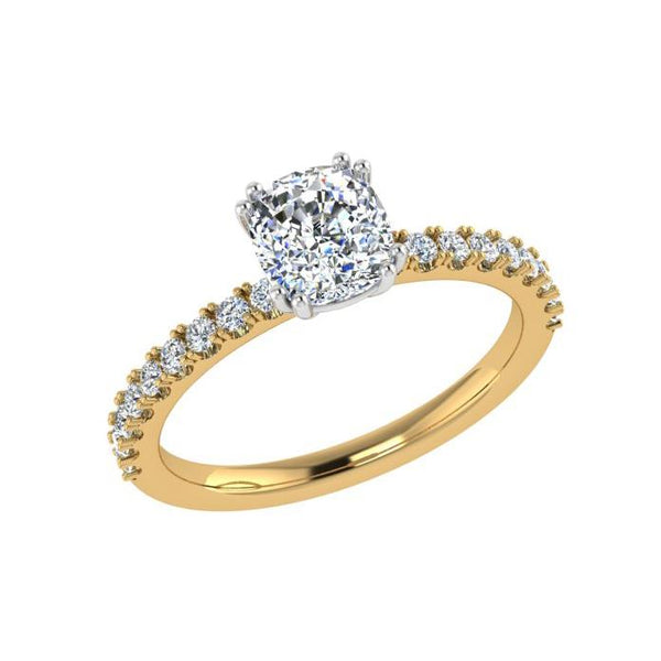 Cushion Diamond with Round Side Stones Engagement Ring 18K Gold 0.26 ct. w.t. - Thenetjeweler