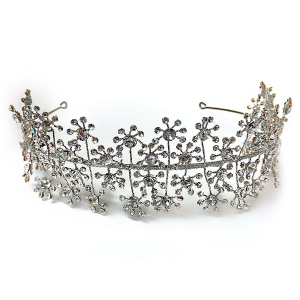 Rhinestone Bridal Headpiece Sterling Silver