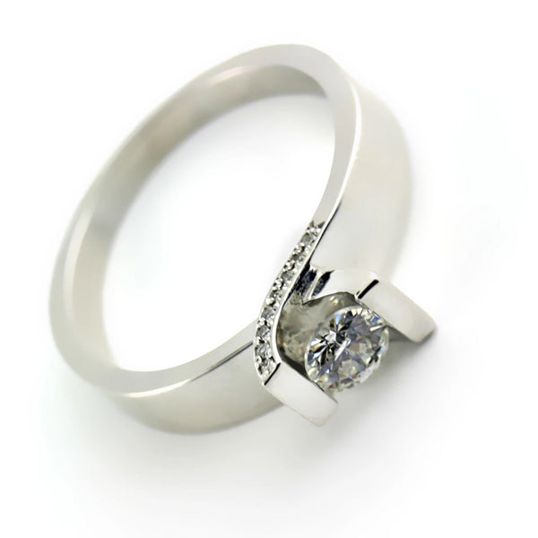 Round Solitaire with Diamond Accents Engagement Ring