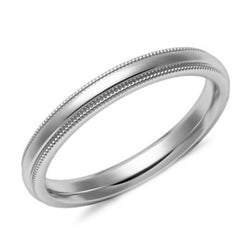 3mm Milgrain Comfort Fit Wedding Ring White Gold - Thenetjeweler