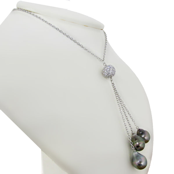 Tahitian Pearl and Cubic Zirconia Necklace - Thenetjeweler