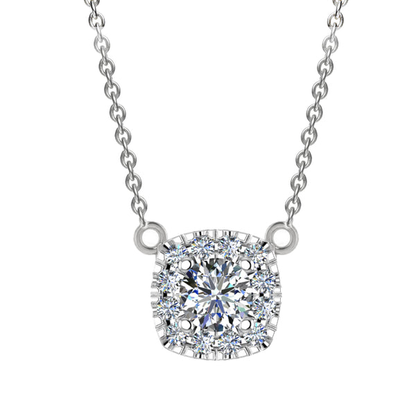 Cushion Halo Diamond Necklace