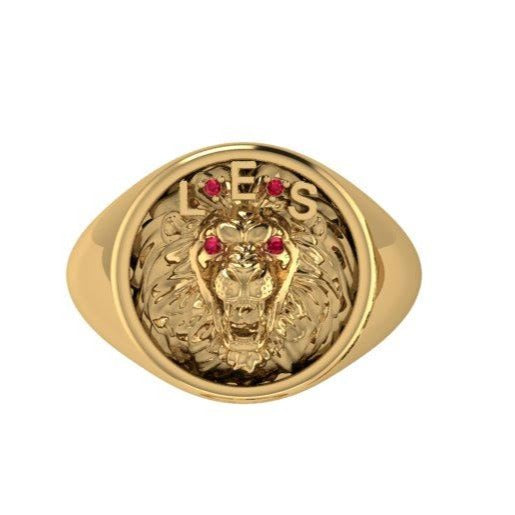 Men's Lion Ring with Ruby 10K Yellow Gold - Thenetjeweler