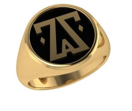 Men's Custom Logo Statement Ring 10K Yellow Gold - Thenetjeweler