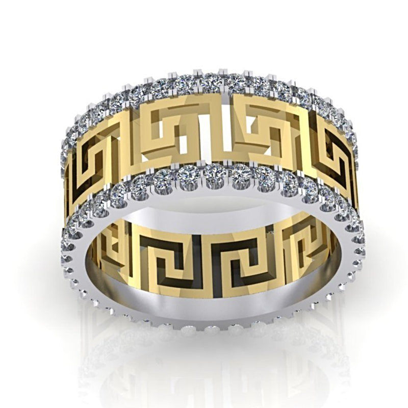 Greek Key Design Two Tone Diamond Ring 14K Yellow and White Gold - Thenetjeweler