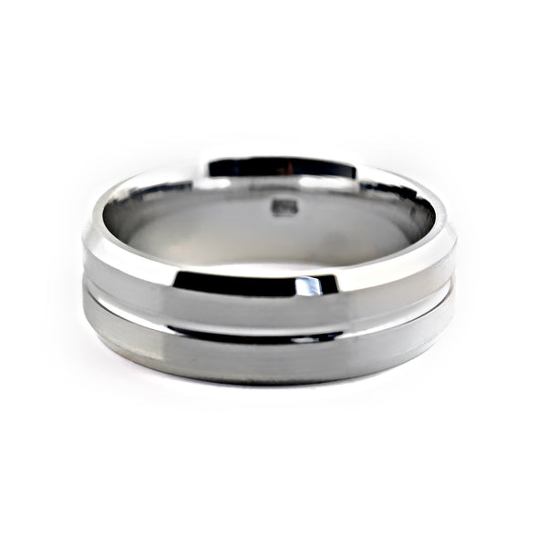 7mm Wide Men's Wedding Band White Gold