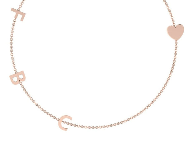 3 Initial Charm Necklace