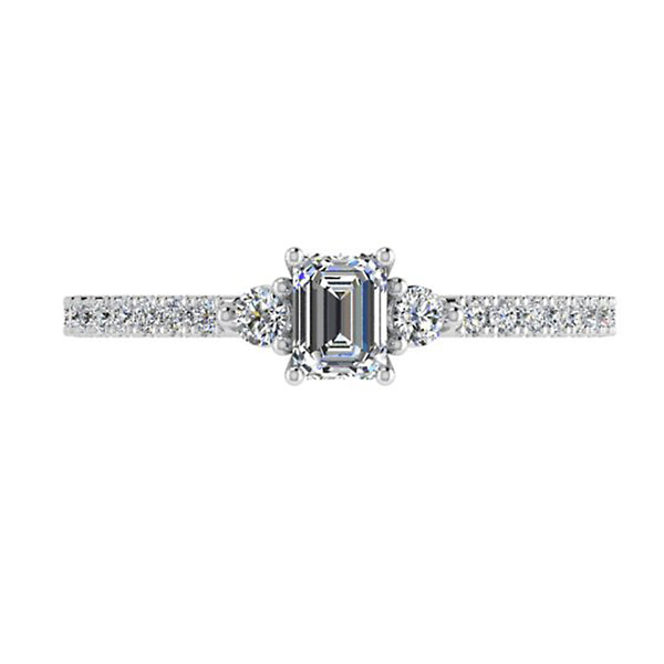 Emerald Cut Diamond Ring with Side Stones