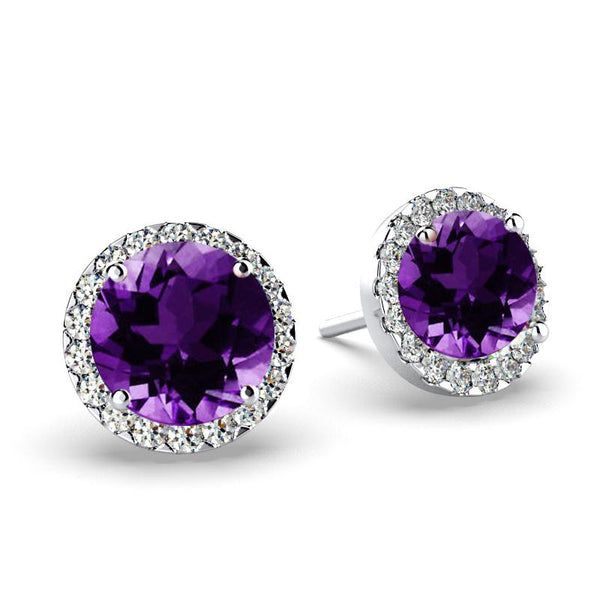 Diamond Amethyst Halo Stud Earrings 18K White Gold Push Back - Thenetjeweler
