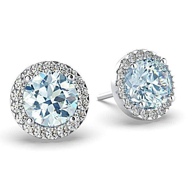Diamond Aquamarine Halo Stud Earrings 18K White Gold - Thenetjeweler