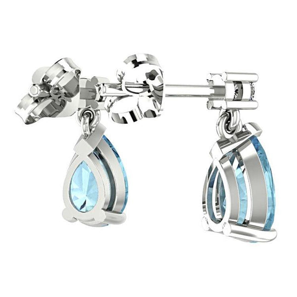 Blue Topaz Pear Drop Stud Diamond Earrings 14K White Gold - Thenetjeweler