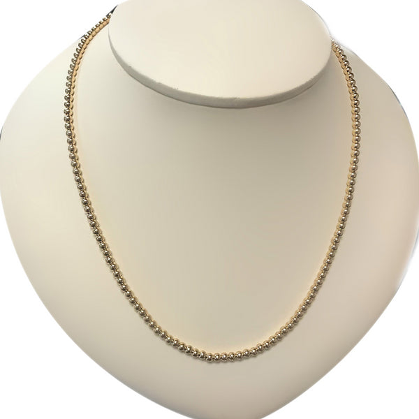 3mm Ball Chain Beaded Collar Necklace 14K Yellow Gold - Thenetjeweler