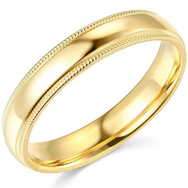 Wedding Band Comfort Fit 14K Gold 4 mm Milgrain Edges - Thenetjeweler