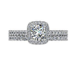 Diamond Engagement and Wedding Ring Set 14K White Gold
