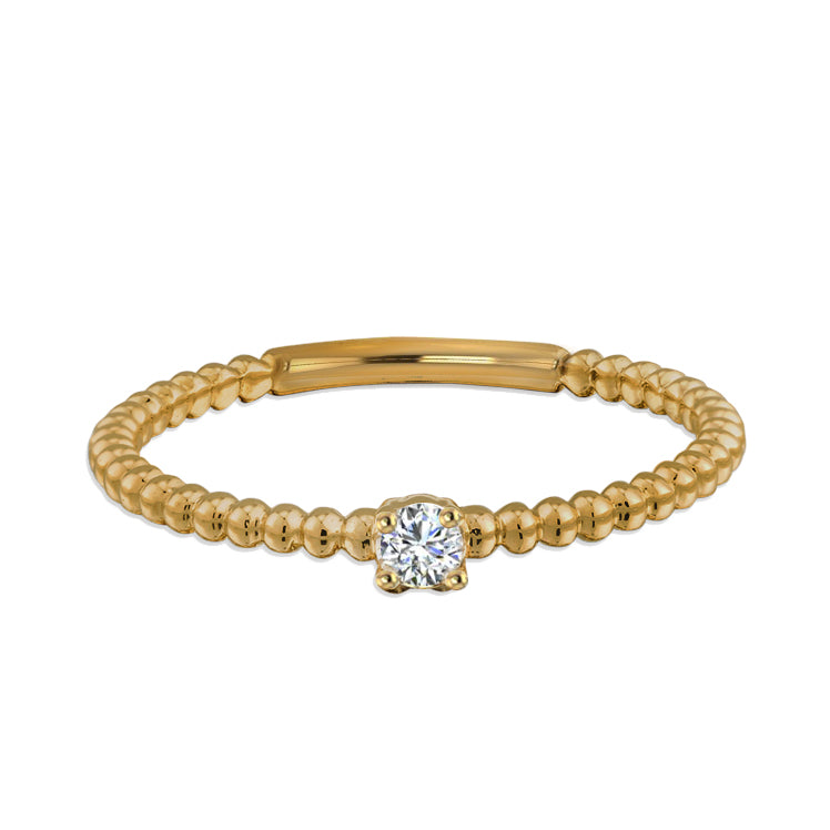 Diamond Beaded Ring 14k Gold - Thenetjeweler