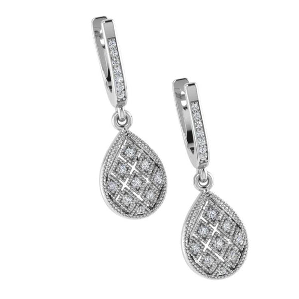 Teardrop Diamond Earrings 14k White Gold - Thenetjeweler