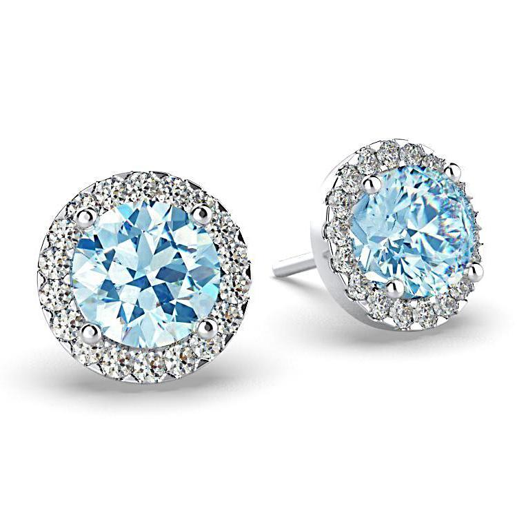 Diamond Blue Topaz Halo Stud Earrings 18K White Gold - Thenetjeweler
