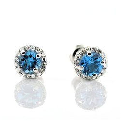 Topaz Diamond Halo Stud Earrings 18K White Gold 0.38 ct. t.w. - Thenetjeweler