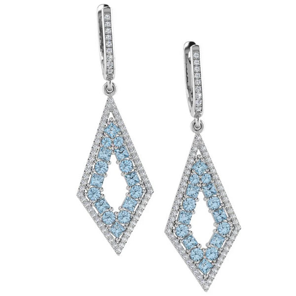 Princess cut and Round Blue Topaz Diamond Drop Earrings