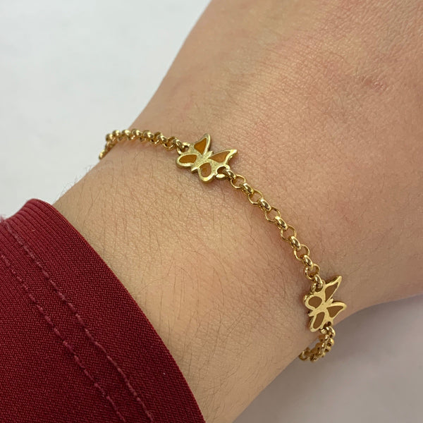 Butterfly Chain Bracelet 14K Yellow Gold - Thenetjeweler