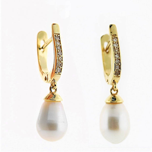 Cultured Pearl and Diamond Drop Earrings 14K Yellow Gold - Thenetjeweler