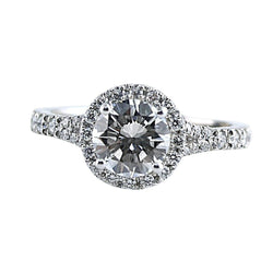 Round Cut Diamond Halo Engagement Ring Side Stones 18K Super White Gold Mounting - Thenetjeweler