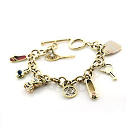 14K Yellow Gold Link Bracelet with Dangling Charms Make your Own Charm - Thenetjeweler