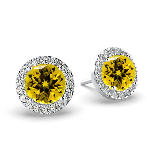 Diamond Citrine Halo Stud Earrings 18K White Gold Push Back Butterfly - Thenetjeweler