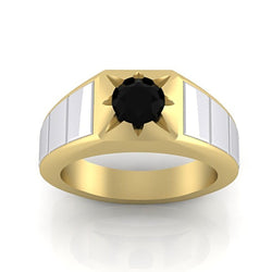 Black Diamond Men's Ring 10K Yellow and White Gold - Thenetjeweler by Importex