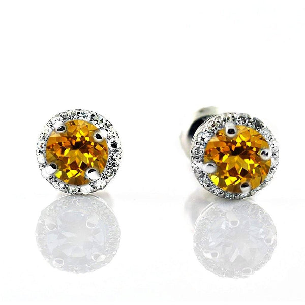 Diamond Halo Citrine Stud Earrings in 18K White Gold Screw Back - Thenetjeweler
