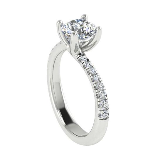 Round Diamond Twist Engagement Ring Setting 18K White Gold - Thenetjeweler