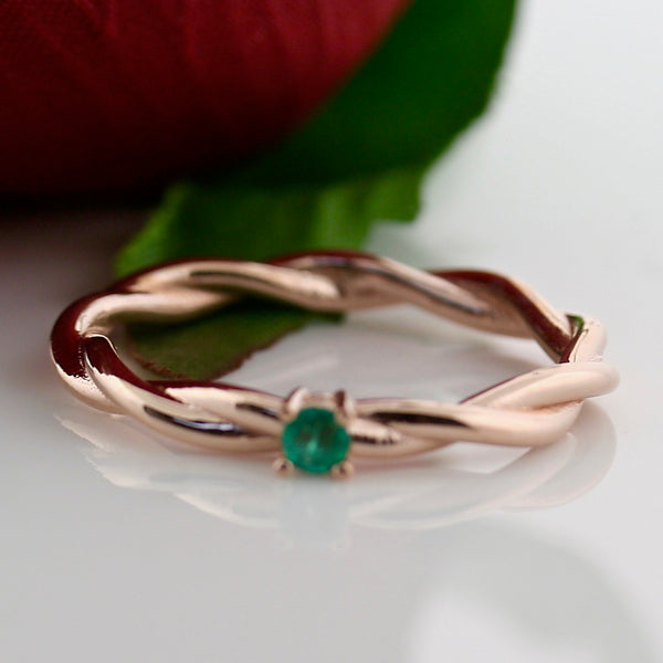 Emerald Dainty Ring Rose Gold