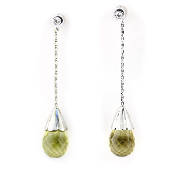 Lemon Quartz & Diamond Drop Earrings - Thenetjeweler