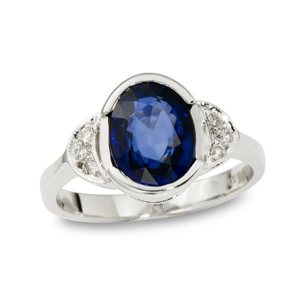 Oval Sapphire and Diamond Engagement Ring Half Moon Sides - Thenetjeweler