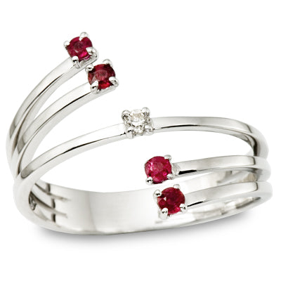 Ruby and Diamond Wrap Ring White Gold - Thenetjeweler