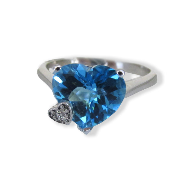 Heart Shaped Blue Topaz Ring - Thenetjeweler